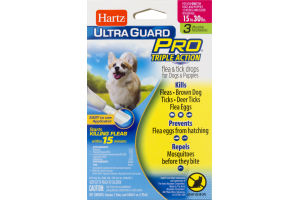 Hartz Ultra Guard Pro Flea & Tick Drops For Dogs And Puppies Weighing 16-30 lbs - 3 CT
