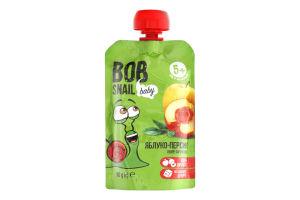 Пюре фруктове для дітей від 5міс Яблуко-персик Bob Snail д/п 90г