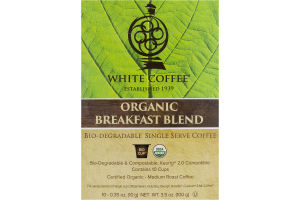 White Coffee K-Cup Pods Organic Breakfast Blend - 10 CT