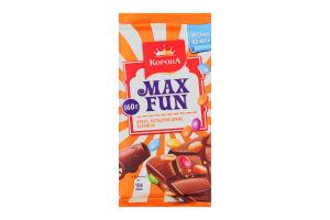 Шоколад Корона Max Fun арахіс,кольорові драже,карамель 160г
