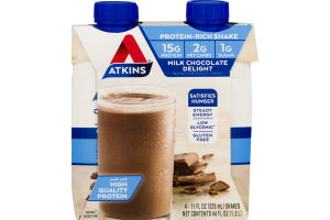 Atkins Milk Chocolate Delight Shake - 4 CT
