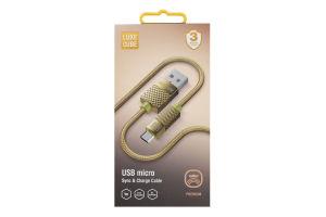 Кабель USB micro 1м золотий Рremium Luxe Cube 1шт