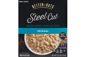 Better Oats Steel Cut Instant Oatmeal with Flax Seeds Original Pouches - 10 CT