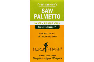 Herb Pharm Saw Palmetto System Restoration Herbal Supplement Vegetarian Softgels - 60 CT