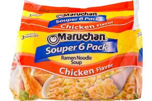 Maruchan Souper 6 Pack Chicken Flavor Ramen Noodle Soup - 6 PK