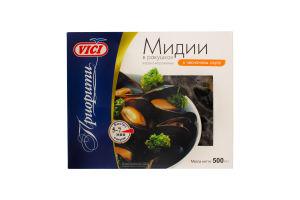 Мідії Vici у мушлях варено-морожені у часниковому соусі 500г п/е