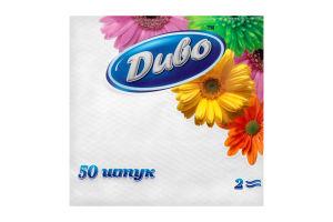 Салфетки бумажные 2 слоя белые Диво 50шт