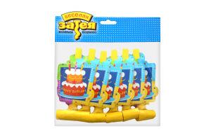 Весела затія язичок-гудок з карткою торт Happy Birthday, 6шт