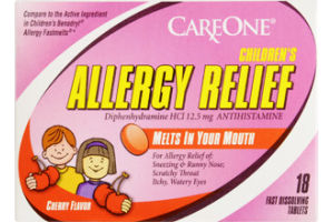 CareOne Children's Cherry Flavor Allergy Relief Antihistamine Tablets - 18 CT