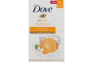 Dove Go Fresh Revitalize Beauty Bar With Mandarin & Tiare Flower Scent - 6 CT