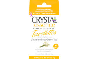 Crystal Essence Mineral Deodorant Towelettes Chamomile & Green Tea - 6 CT