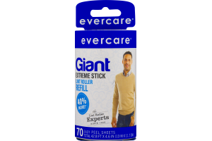 Evercare Giant Extreme Stick Lint Roller Refill Easy Peel Sheets - 70 CT