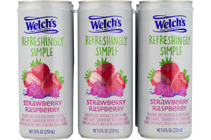 Welch's Refreshing Simple Juice Beverage Strawberry Raspberry - 6 CT