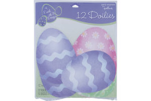 Hallmark Party Express Easter Egg Assorted Doilies - 12 CT