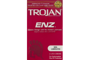 Trojan Non-Lubricated Latex Condoms ENZ - 12 CT