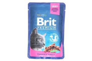 Корм Brit premium з куркою та індичкою 100г