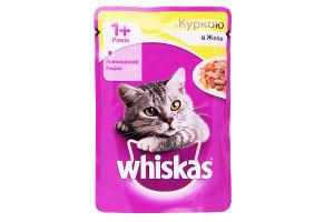 Корм для взрослых котов с курицей в желе Whiskas д/п 100г