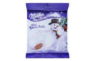 Шоколад молочний в формі кулі в цукровій оболонці Mini Snow Balls Milka м/у 100г