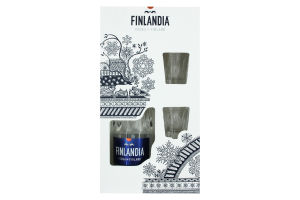 Горілка Finlandia 40% 0.7л + 2 склянки