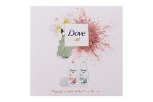 Набір подарунковий крем-гель для душу з зеленою глиною Очищення 250мл+крем-гель для душу з рожевою глиною Відновлення 250мл+мочалка Детокс Dove 1шт