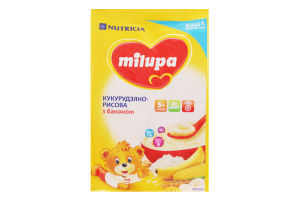 Каша Milupa молочна суха швидкорозчинна кукурудзяно-рисова з бананом для дітей від 5-ти міс. 210г