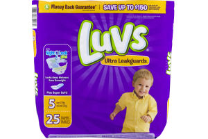Luvs Ultra Leakguards With Night Lock Plus Diapers 5 Over 27 lbs - 25 CT