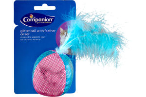 Companion Cat Toy Glitter Ball With Feather