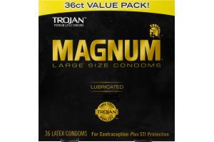 Trojan Magnum Large Size Lubricated Premium Latex Condoms - 36 CT