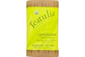 Teatulia Organic Teas Lemongrass Herbal Infusion Round Tea Bags - 30 CT