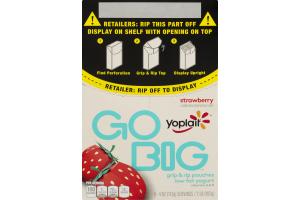 Yoplait Go Big Grip & Rip Pouches Low Fat Yogurt Strawberry - 8 CT