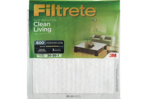 3M Filtrete Dust Reduction Clean Living 600 Air Filter 20x20x1