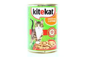 Корм для котов с курицей в соусе Kitekat ж/б 400г