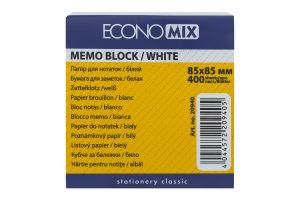 Папір EconoMix для нотаток 85х85мм білий 400арк. 20940