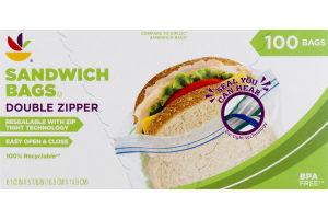 Ahold Sandwich Bags Double Zipper - 100 CT