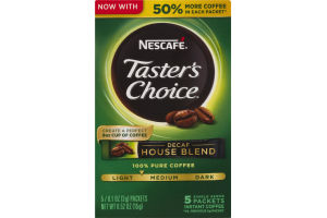 Nescafe Taster's Choice Single Serve Instant Coffee Packets Decaf House Blend - 5 CT