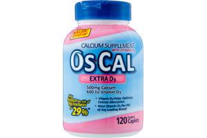 Os-Cal Extra D3 Calcium Supplement Coated Caplets - 120 CT