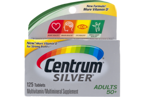 Centrum Silver Adults 50+ Multivitamin/Multimineral Supplement Tablets - 125 CT