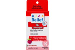 Kids Relief Homeopathic Medicine Flu Oral Liquid Raspberry Flavor