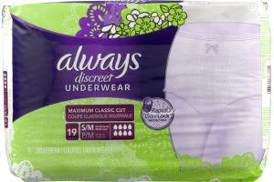 Always Discreet Underwear Maximum Classic Cut S/M - 19 CT