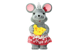 Новорічна прикраса підвіс Мишка 12см пластик