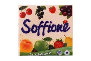 Салфетки бумажные однослойные 24*24см Soffione 100шт