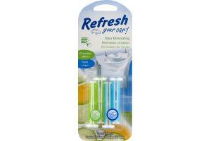 Refresh Your Car Odor Eliminating Vent Sticks Cucumber Melon/Fresh Linen - 4 CT