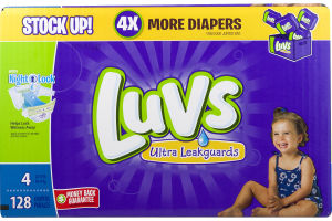 Luvs Ultra Leakguards Diapers Size 4 (22-37 lb) - 128 CT