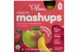 Plum Organic Mashups Apple Sauce + Strawberries & Bananas Strawberry Banana - 4 CT