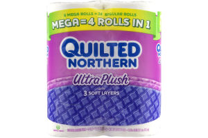 Quilted Northern Ultra Plush with 3 Soft Layers Mega Rolls - 6 CT
