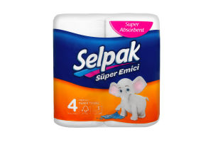 Полотенце бумажное кухонное белое Selpak 4шт