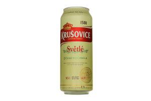 Пиво 0.5л 4.2% світле фільтроване пастеризоване Krusovice Svetle з/б