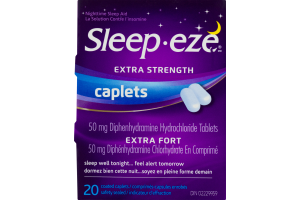 (CN) Sleep-eze Extra Strength Nighttime Sleep Aid Coated Caplets - 20 CT, Sleep-eze Extra Fort La Solution Contre L'insomine Comprimes-Capsules Enrobes - 20 CT