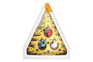 """Прикраса ялинкова.Новорічна декорація """"Ялинка з декором"""" виготовлена зі дерева товщиною 3мм та прикрашена кульками зі скла 30мм уп.1"""