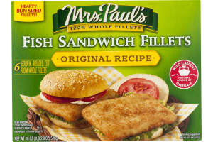 Mrs. Paul's Fish Sandwich Fillets Original Recipe - 6 CT